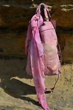 Lucky Brand Leather Purse Boho Abbey Road Foldover  Handbag Pink Purple Yellow