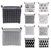 Foldable Cotton Linen Washing Clothes Laundry Basket Bag Hamper Storage Toys New