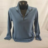 J Crew Mercantile 1/4 Zip Fitted Mens Size Large Blue Cotton Sweatshirt Pullover