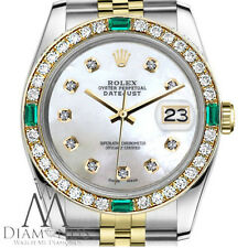 Ladies Rolex 36mm Datejust 2 Tone White MOP Mother of Pearl Emerald Diamond