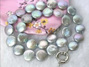 """Beautiful 10-13MM Gray Coin Akoya Pearl Beads Necklace 18"""""""