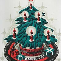 Vintage Early Mid Century Christmas Greeting Card Red Candles In Tree Gifts Star
