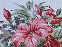 PAIR Tropical Hibiscus Cottage Barkcloth Era Curtains Drapes 1940s Miami Beach
