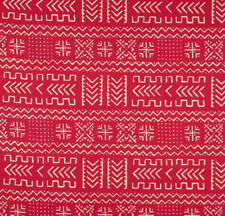 African Inspired Mud Cloth Motif Cotton Print Fabric Hot Pink 3 Yards