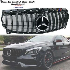 Front Black GT Grille For Mercedes Benz C117 CLA-Class CLA180 CLA200 2016-2019'