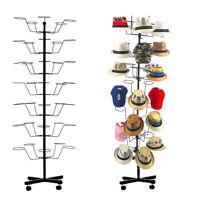 7 Tiers Hat & Cap Display Retail Hat Cap Rack Rotating Spinner Metal Stand Floor