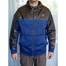 ADIDAS Team Issue fleece zip front hooded sweatshirt jacket blue black Sz XL NEW
