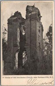 "Summerville, South Carolina Postcard ""Ruins of Old Dorchester Church"" c1910s"