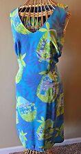 Lilly Pulitzer Blue Green Silk Frog Guitar Serenade V-Neck Dress size 10 DS2