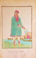 RUSSIA, RUSIA, homme de Kamas Malika, Grabado original en color, 1788.
