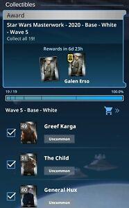 Topps Star Wars Card Trader Masterwork 21 W5 Base White Set 19 cards Digital