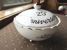 Lifton China Hand Painted 25th Anniversary Candy Dish with Flowers, Doves