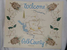 Vintage Polk County Texas Welcome Map 14 x 17 Suitable for Frame Livingston TX