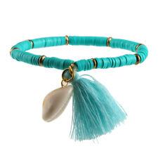 Women's Bohemian Beach Sea Shell Tassel Rubber Stretchable Bracelet Jewelry
