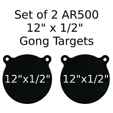 "Set of 2 AR500 Steel Target Gong 1/2"" x 12"" Painted Black Shooting Practice Rang"
