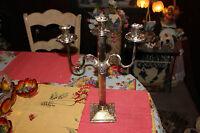 Vintage Godinger Silver Metal Gothic Candelabra 3 Candle Holder Large #2