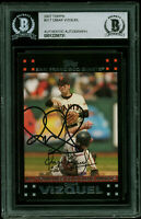 Indians Omar Vizquel Authentic Signed 2007 Topps #317 Card BAS Slabbed