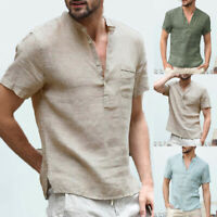 Men's Linen Casual T-Shirt Thai Hippie Shirt Retro V Neck Beach Top Festival Tee