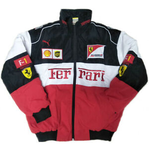 NEW FERRARI RED BLACK EMBROIDERY EXCLUSIVE JACKET SUIT F1 TEAM RACING
