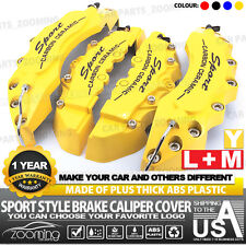 "4x Universal Sport Style Disc Brake Caliper Cover Front & Rear Yellow 10.5"" LW01"