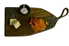 Floral Handpainted Cheese Serving Board with Handle Vintage Style Serving Board