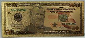 "2009 $50 US Federal Reserve Novelty 24K Gold Foil Plated Note Bill 6"" LG330"