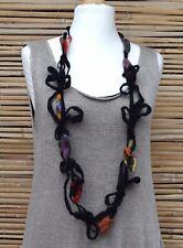 Zuza Bart * Design HAND MADE bellissima mozzafiato lana/lino Collana ** Nero/Multi **