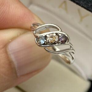 Vintage 10K White Gold Topaz Gemstones Twirl Ladies Ring