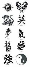 Kanji, Yin Yang, Dragon Black Temporary Tattoos. Set of 10 tattoos, New
