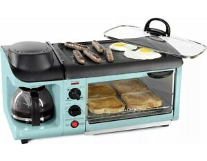NEW Retro 3-in-1 Electric Breakfast Station, Coffeemaker, Griddle, Toaster Oven