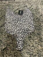 Brand New Pretty Little thing Leopard Print Bodysuit With Tags Cream Black Brown