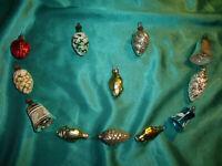 ~ 12 antike Christbaumkugeln Glas Zapfen Glocken Fische Formen silber Federbaum