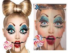 Easy Broken China Doll Sticker Eye Makeup Barbie Puppet Face Mask Costume Set