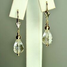 14k solid yellow gold 12x8mm briolette natural White Quartz earrings 2.6 grams