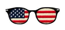 USA Sunglasses Brille Stars and Stripes - Aufnäher Aufbügler Patch Neu #9054