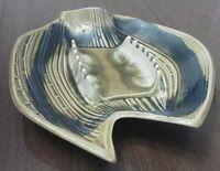 Mid Century Large California Pottery Ashtray vtg Sculptural Avacado Cream Blues
