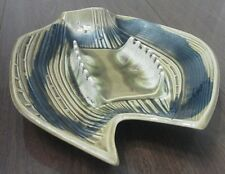 Vtg California Pottery Ashtray * Mid Century * Avacado & Blue * Large
