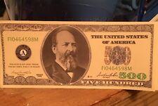 $500 Dollar Bill Novelty Joke Funny Fun Looks Real But Not