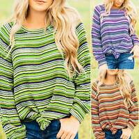 Autumn Womens Pullover Crew Neck Loose Blouse Casual Colorful Striped Jumper Top