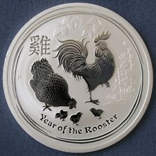 Perth Mint 2017 Lunar Year Of The Rooster 2 oz Ounce 99.9% Silver Bullion Coin