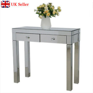 Mirrored Glass 2 Drawers Dressing Table Bedroom Bedside Dressing Table Cabinets