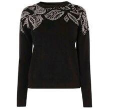 BNWT - KAREN MILLEN -Black Studded Knit Jumper Sweater - SIZE S - RRP £125