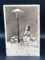 1930s Vintage POSTCARD MERRY CHRISTMAS Snowman German Art