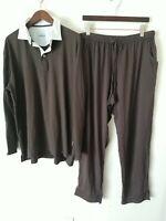 Van Laack Lufthansa Long Sleeve Cozy Soft Shirt & Pant Pajama Set PJs L Brown