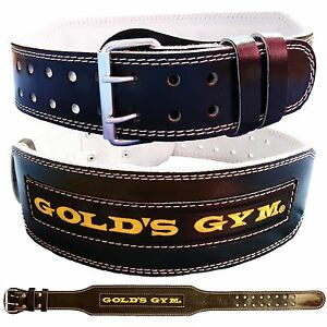 """Golds Gym Weight Lifting Belt 4"""" Leather Lumbar Back Support Power Training"""