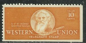 U.S. Revenue Telegraph stamp scott 16t102 - 10 cent Western Union 1940 - mlh #6