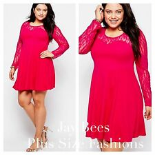 Praslin @ Simply Be Plus Size 24 Hot Pink Lace Sleeve Skater Dress Party £40