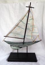 Large Antique Style Metal Yacht / Sailing Boat on Stand - BNIB (a)
