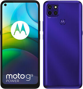 "New Motorola Moto G9 Power Violet 6.8"" 128GB Dual SIM Android 10 Unlocked Sim Fr"