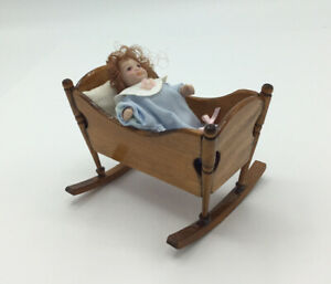 Dolls House Rocking Cradle With Baby